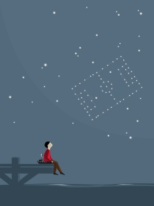 Boy sitting on jetty and watching stars at night imagining soccer pitch